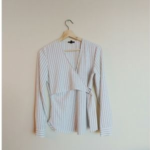 Dynamite Pin Stripe Wrap Top